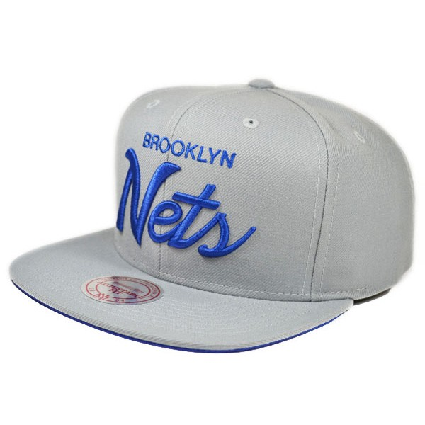 Brooklyn Nets Gray Royal Blue Blue Words NBA Mitchell /& Ness Adjustable Fit Hat