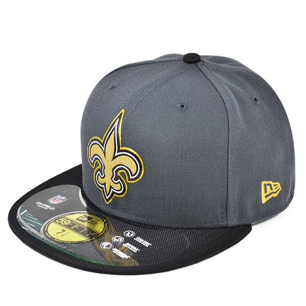 buy online f3c96 a9173 New Orleans Saints 50th Anniv. On-Field GOLD Collection FITTED 59Fifty New  Era NFL Hat