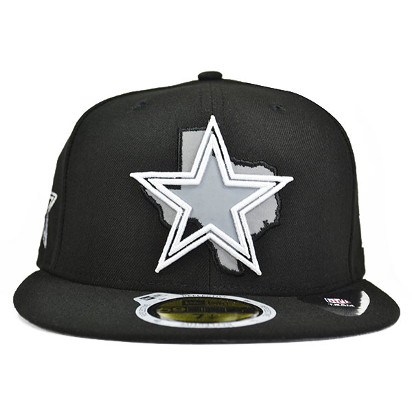 f6e8f8a1 Dallas Cowboys STATE REFLECTIVE Black FITTED 59Fifty New Era NFL Hat
