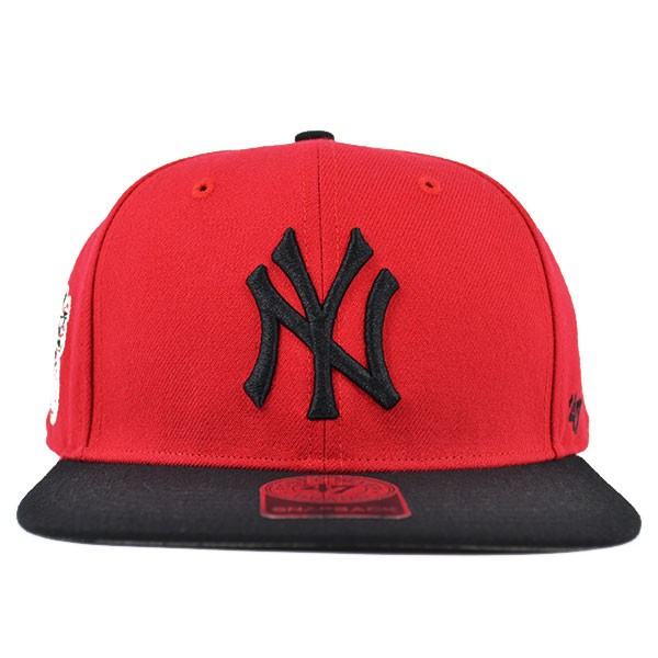 e7abfd32 New York Yankees SURE SHOT Red/Black SNAPBACK 47 Captain MLB Hat ...