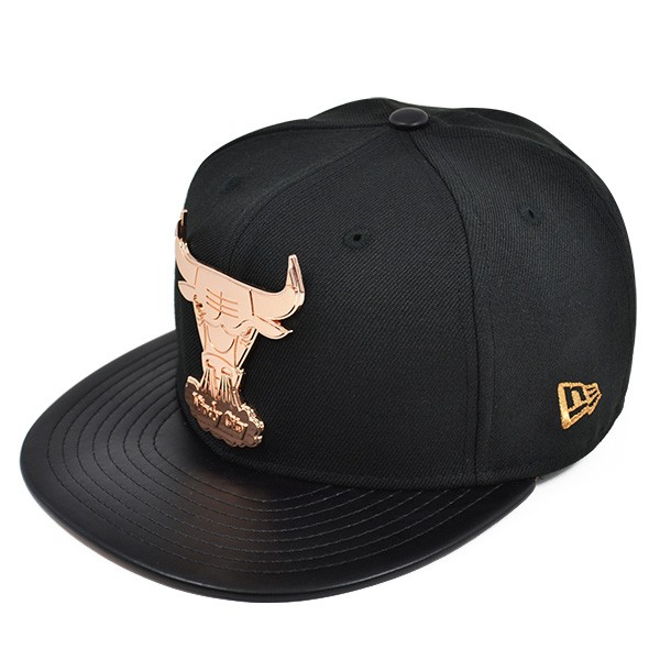 8c1d655b8fc Chicago Bulls HARDWARE LOGO Black Rose Gold FITTED 59Fifty New Era ...