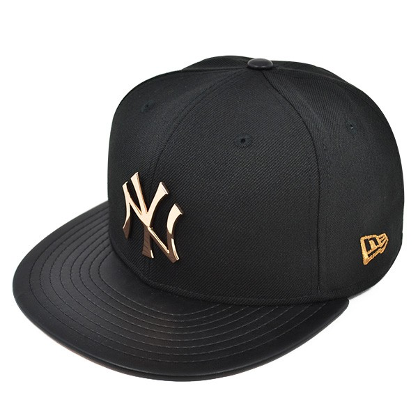 26810151c50 New York Yankees HARDWARE LOGO Black Rose Gold FITTED 59Fifty New ...