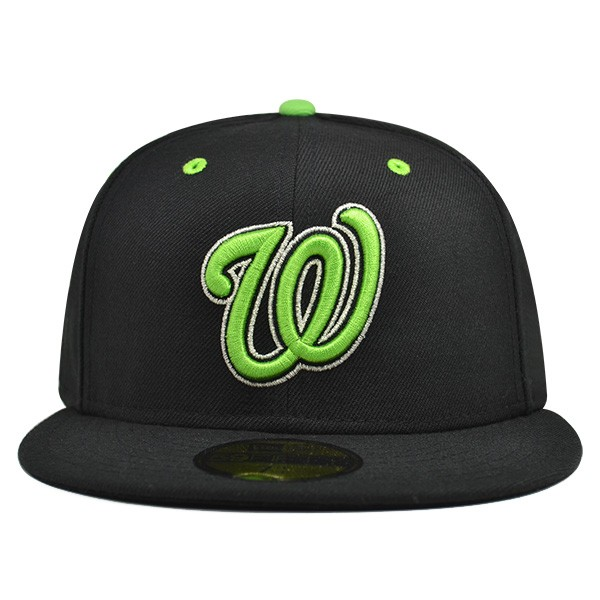 e1d5f33a Washington Nationals CUSTOM Black/Lime FITTED 59Fifty New Era MLB Hat
