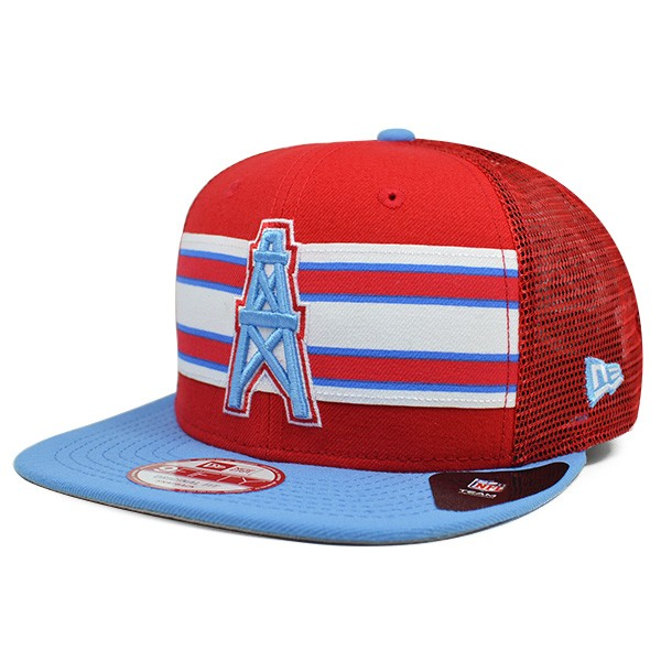 Houston Oilers THROWBACK STRIPE Mesh Snapback 9Fifty New Era NFL Hat ... 3ee436c15cd