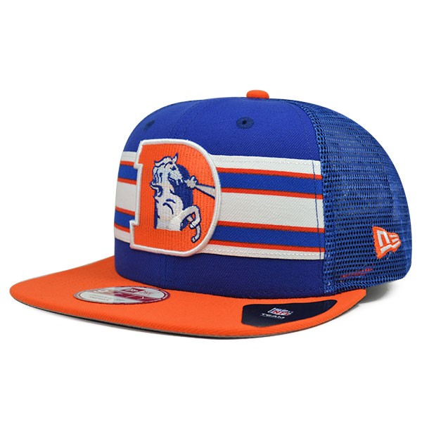 size 40 e540c d19ab Denver Broncos THROWBACK STRIPE Classic Logo Mesh Snapback 9Fifty ...