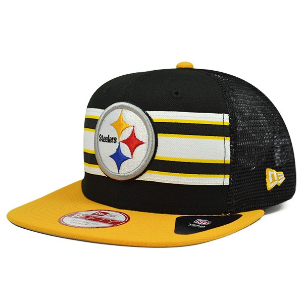 8fcfaa00 Pittsburgh Steelers THROWBACK STRIPE Mesh Snapback 9Fifty New Era NFL Hat