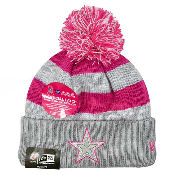 premium selection 14976 d6a8c Dallas Cowboys New Era Women's 2016 Breast Cancer Awareness (BCA) Sideline  Cuffed Pom Knit Hat