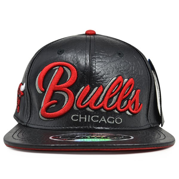 56e1837def5 Chicago Bulls Team Script All Leather STRAPBACK Pro Standard NBA Hat ...