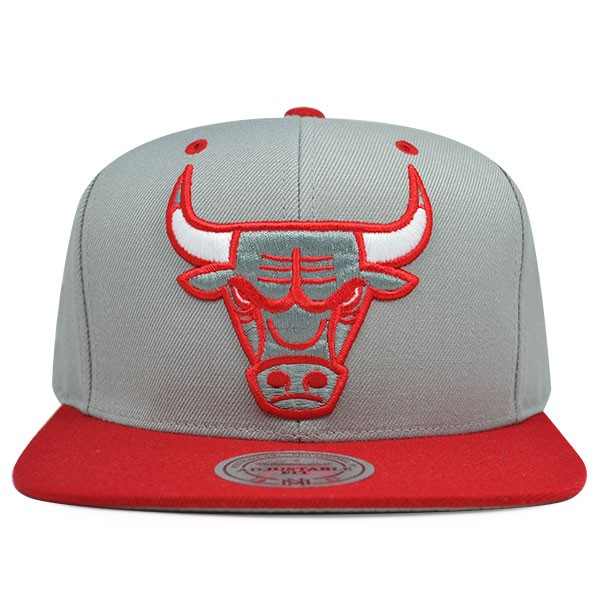 sports shoes 5a24c e3cef Chicago Bulls AIR Gray Red Snapback Mitchell   Ness NBA Hat - Hat Dreams