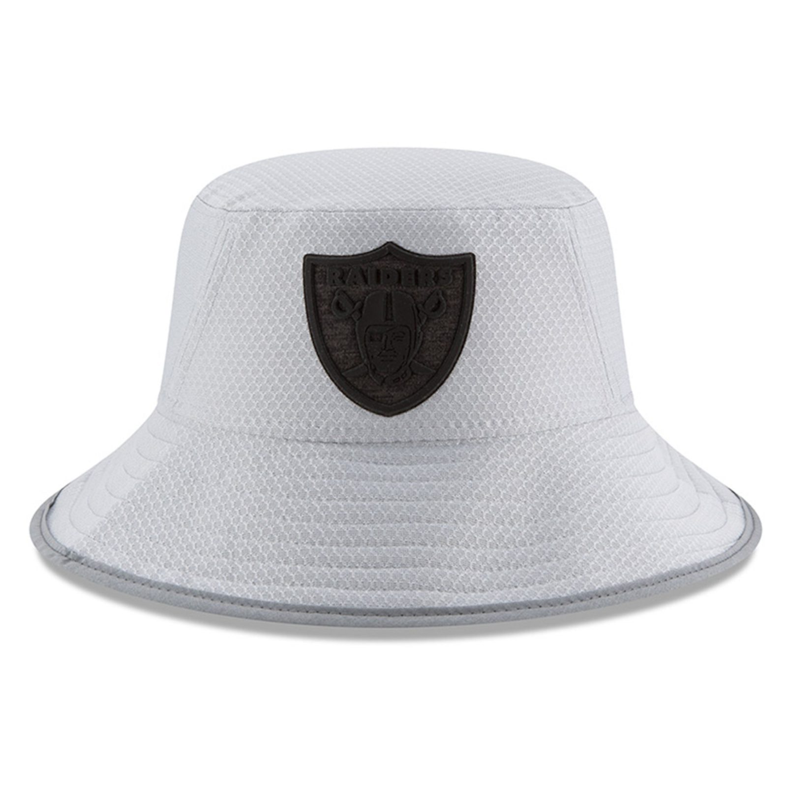 5909829ce0e177 Oakland Raiders New Era 2018 Training Camp Official Bucket Hat – Gray