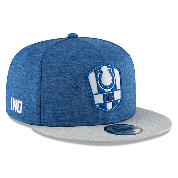 Indianapolis Colts New Era 2018 NFL Sideline Road Official 9Fifty ... bc9743ba8648
